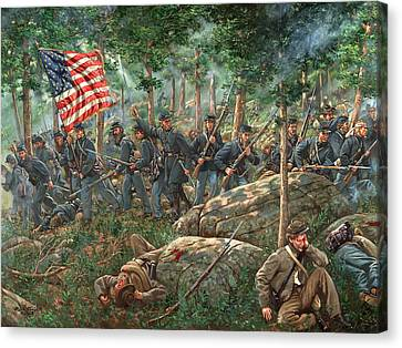 Battle Of Gettysburg Canvas Print - Charge Of The 20th Maine by Mark Maritato