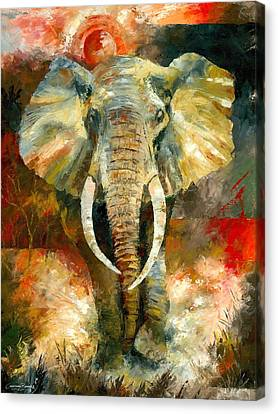 Stretched Canvas Print - Charging African Elephant by Christiaan Bekker