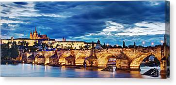 Charles Bridge And Prague Castle Panorama / Prague Canvas Print by Barry O Carroll