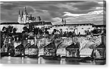 Charles Bridge And Prague Castle / Prague Canvas Print by Barry O Carroll