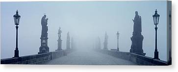 Charles Bridge In Fog Prague Czech Canvas Print by Panoramic Images