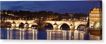 Charles Bridge Over Vitava River Canvas Print by Panoramic Images