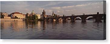 Charles Bridge Vltava River Prague Canvas Print by Panoramic Images