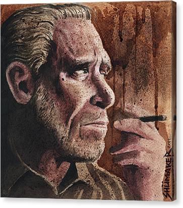 Charles Bukowski Portrait Canvas Print by David Shumate
