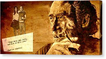 Charles Bukowski - The Love Version Canvas Print by Richard Tito