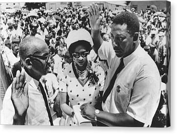 Charles Evers Becomes Mayor Canvas Print by Underwood Archives