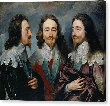 Charles I In Three Positions Canvas Print by Anthony van Dyck