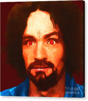 Charles Manson 20141213 Square Canvas Print by Wingsdomain Art and Photography