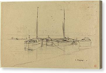 Charles Meryon French, 1821 - 1868, Boats On River Canvas Print by Quint Lox