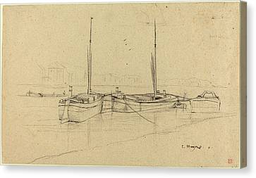 Charles Meryon, French 1821-1868, Boats On River With Masts Canvas Print by Litz Collection