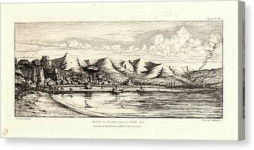 Charles Meryon French, 1821 - 1868. Seine Fishing Canvas Print by Litz Collection