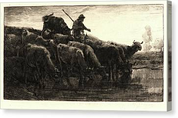 251 Canvas Print - Charles Émile Jacque French, 1813 - 1894. Herd Of Cows by Litz Collection