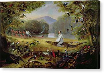 Charles Waterton Capturing A Cayman, 1825-26 Canvas Print by Captain Edward Jones