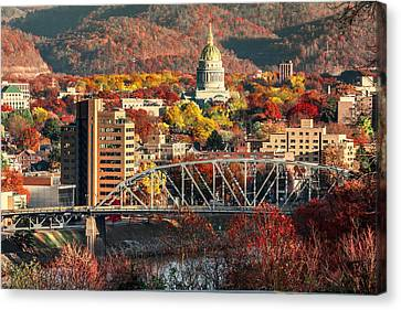 Charleston And Wv Capitol Canvas Print by Mary Almond