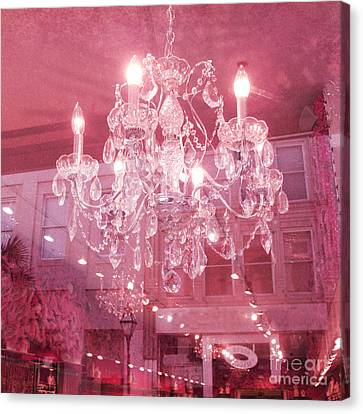 Charleston Crystal Chandelier - Sparkling Pink Crystal Chandelier Art Deco Canvas Print by Kathy Fornal