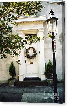 Charleston Door With Wreath And Street Lamp Canvas Print by Kathy Fornal