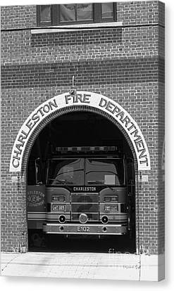 Charleston Fire Department - Black And White Canvas Print by Suzanne Gaff