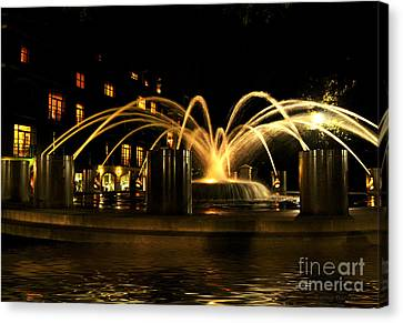 Canvas Print featuring the photograph Charleston Fountain At Night by Kathy Baccari