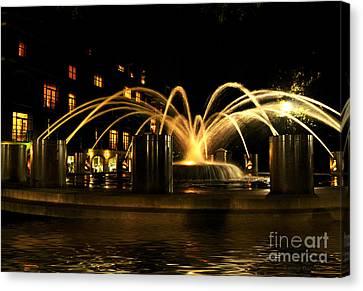 Charleston Fountain At Night Canvas Print by Kathy Baccari