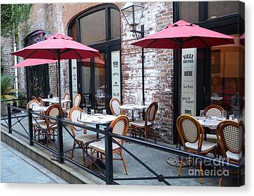 Charleston French Cafe Bistro - Rue De Jean French Restaurant Cafe Bistro Charleston South Carolina Canvas Print by Kathy Fornal