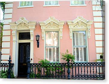 Charleston French Quarter District Mansion - Pink And Black French Architecture Canvas Print