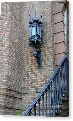 Charleston French Quarter Gothic Architecture - Charleston Gothic Ornate Black Lanterns Lamps  Canvas Print by Kathy Fornal