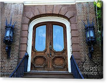 Charleston French Quarter Gothic Ornate Door And Lanterns - Charleston French Quarter Architecture  Canvas Print by Kathy Fornal