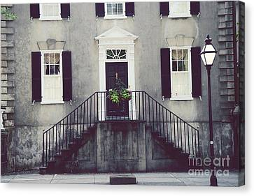 Charleston Houses Canvas Print - Charleston French Quarter Historial District Mansion - Charleston Black Grey White House And Lantern by Kathy Fornal