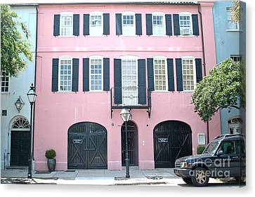 Charleston French Quarter Rainbow Row French Black And Pink Window Shutters Architecture Canvas Print by Kathy Fornal