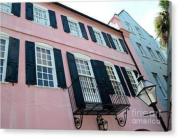Charleston French Quarter Rainbow Row French Lace Iron Balconies Black And Pink Window Shutters  Canvas Print by Kathy Fornal