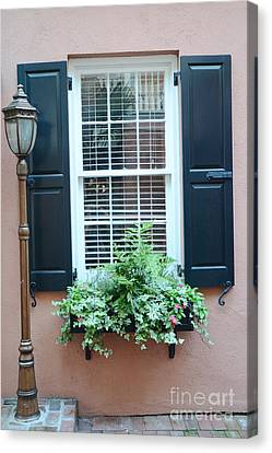 Art Nouveau Style Canvas Print - Charleston French Quarter Window Box And Street Lamp - Romantic Charleston Window Flower Boxes by Kathy Fornal