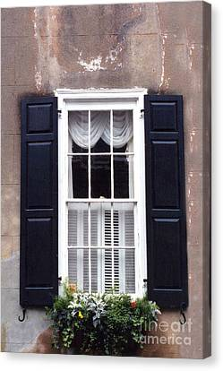 Charleston French Quarter Window Flower Box - Charleston Architecture Black And White Window Box Canvas Print by Kathy Fornal