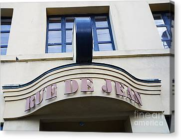 Charleston French Restaurant - Rue De Jean French Cafe Bistro Sign Architecture Canvas Print