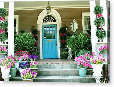 Charleston Garden- Blue Door Garden And Floral Art Canvas Print by Kathy Fornal