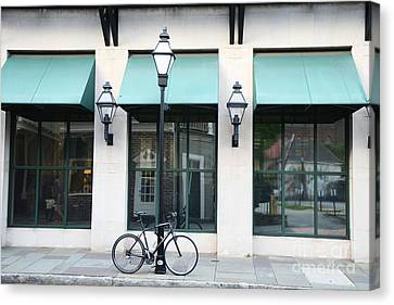 Charleston Historical District Architecture Buildings And Bicycle Street Scene Canvas Print by Kathy Fornal