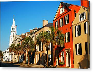Charleston Painted Row Canvas Print by James Kirkikis