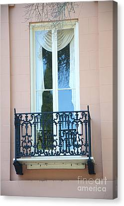 Charleston Houses Canvas Print - Charleston Pink White Architecture - Charleston Historical District French Quarter Window Balcony by Kathy Fornal