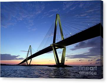Charleston Ravenel Bridge Sunset Canvas Print by Dustin K Ryan
