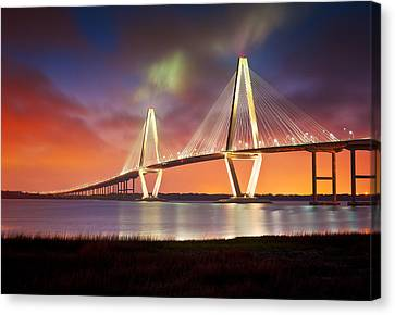 Dave Allen Canvas Print - Charleston Sc - Arthur Ravenel Jr. Bridge Cooper River by Dave Allen