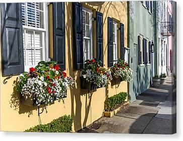 Charleston Sc Rainbow Row Canvas Print