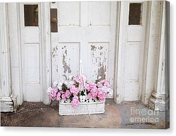 Charleston Shabby Chic Vintage Cottage Old Door With Basket Of Flowers Canvas Print by Kathy Fornal