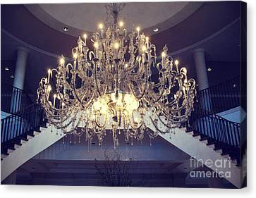 Charleston South Carolina Crystal Chandelier - Sparkling Opulent Elegant Crystal Chandelier  Canvas Print by Kathy Fornal