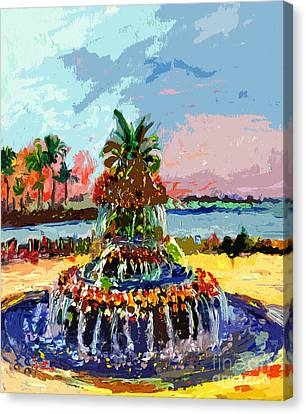 Charleston South Carolina Pineapple Fountain Painting Canvas Print by Ginette Callaway