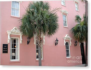 Charleston South Carolina Pink Architecture Historical District - The Mills House Canvas Print by Kathy Fornal