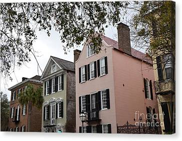 Charleston South Carolina Rainbow Row Historic Homes District Canvas Print