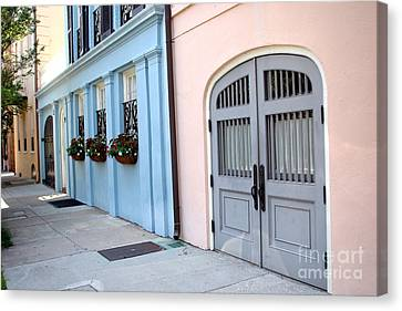 Charleston Houses Canvas Print - Charleston South Carolina - Rainbow Row - Historical District Architecture by Kathy Fornal