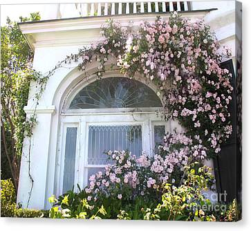 Charleston South Carolina Window Climbing Roses Canvas Print by Kathy Fornal