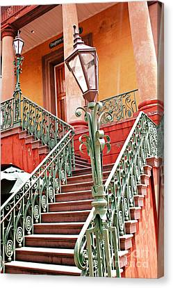 Charleston Staircase Street Lamps Architecture Canvas Print by Kathy Fornal
