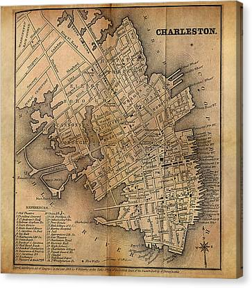 Canvas Print featuring the painting Charleston Vintage Map No. I by James Christopher Hill