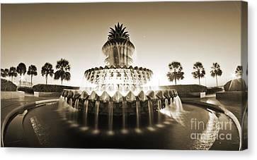 Charleston Waterfront Park Pineapple Fountain Canvas Print by Dustin K Ryan